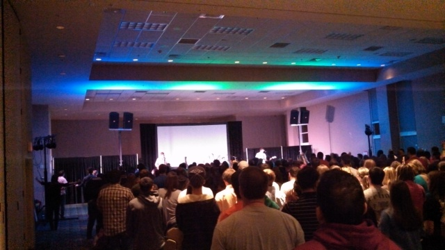 This scene is from the worship service before students went out Monday night. (Photo from John King)