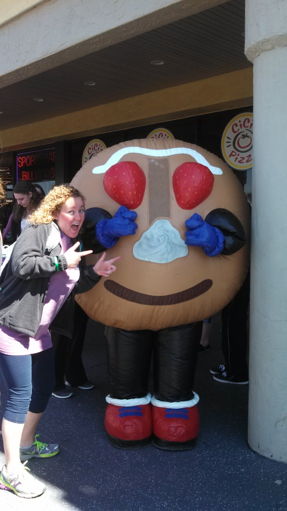 Brooke Jones poses with Emma Meek (who is inside the inflatable pancake character costume).